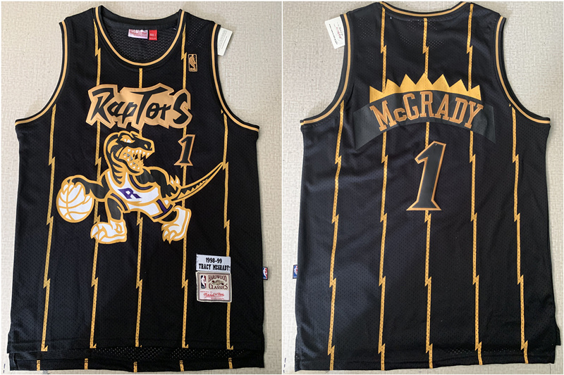 Raptors 1 Tracy McGrady Black 1998-99 Hardwood Classics Mesh Jersey