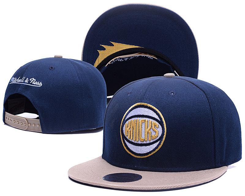 Knicks Team Logo Navy Mitchell & Ness Adjustable Hat GS