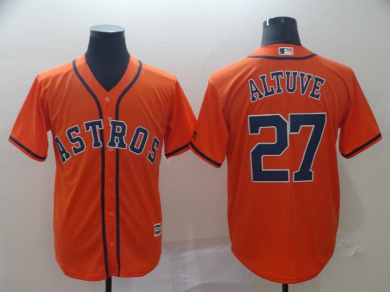 Astros 27 Jose Altuve Orange Cool Base Jersey