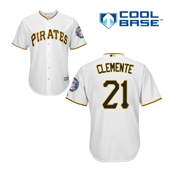 Pirates 21 Roberto Clemente White 2019 Hall of Fame Induction Patch Cool Base Jersey