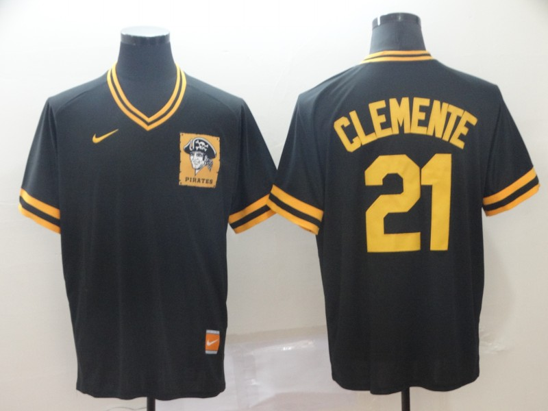 Pirates 21 Roberto Clemente Black Throwback Jersey