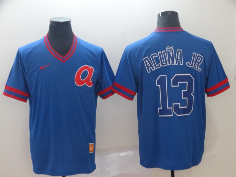 Braves 13 Ronald Acuna Jr Blue Throwback Jersey