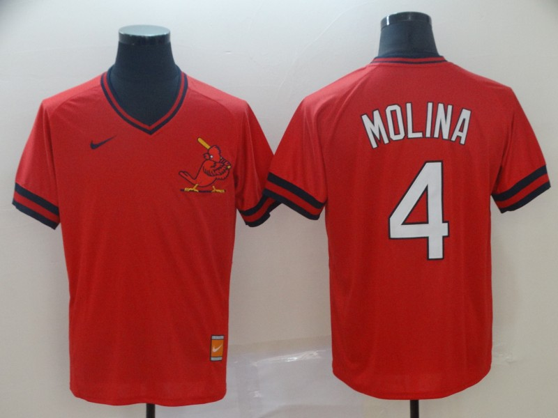 St. Louis Cardinals 4 Yadier Molina Red Throwback Jersey