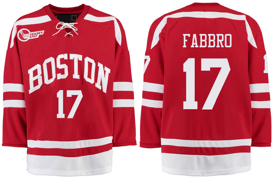Boston University Terriers BU 17 Dante Fabbro Red Stitched Hockey Jersey