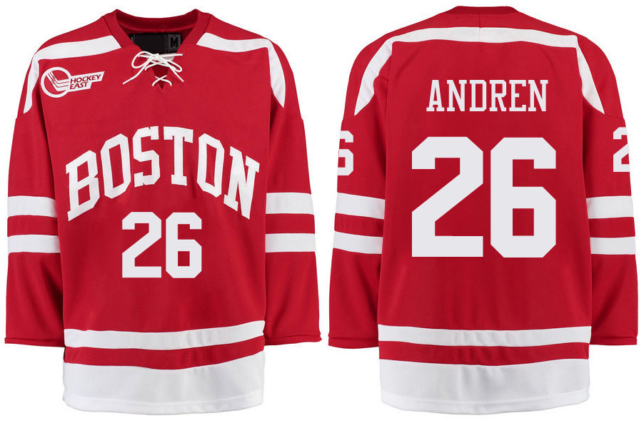 Boston University Terriers BU 26 Oskar Andren Red Stitched Hockey Jersey