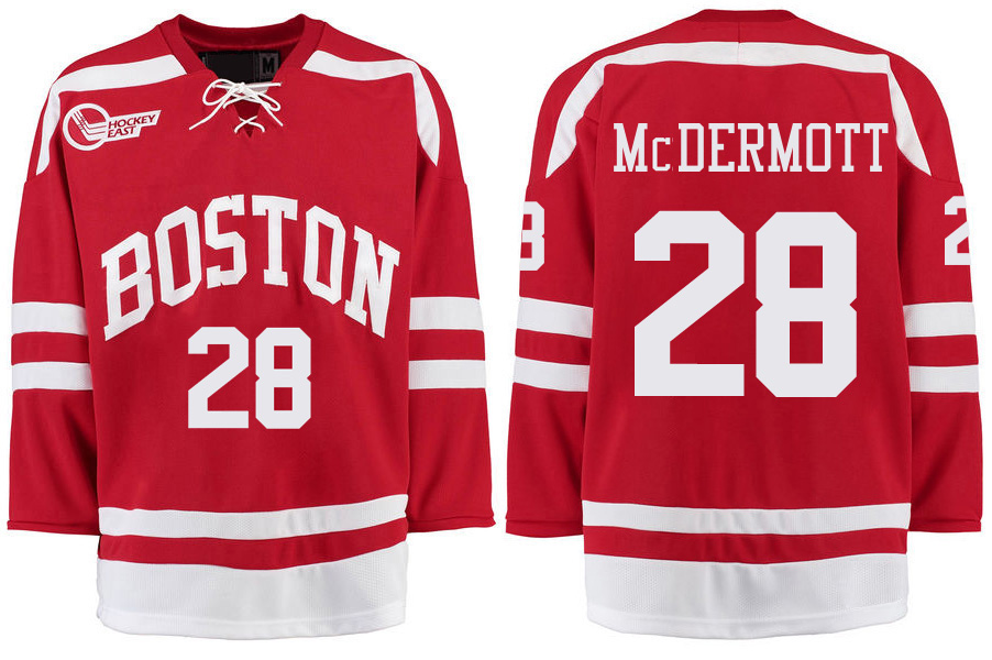 Boston University Terriers BU 28 Johnny McDermott Red Stitched Hockey Jersey