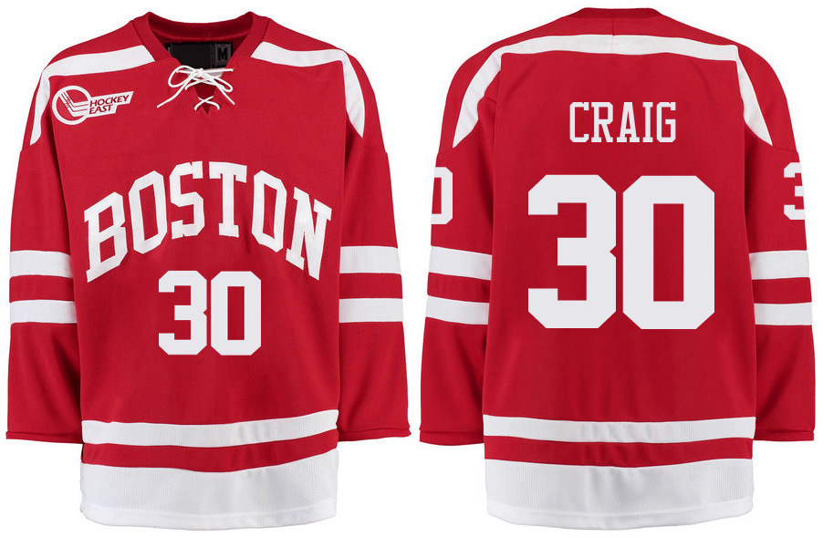 Boston University Terriers BU 30 Jim Craig Red Stitched Hockey Jersey