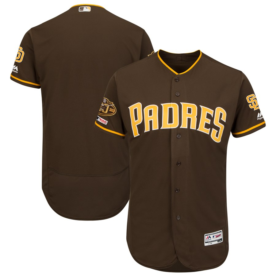 Padres Blank Brown 50th Anniversary and 150th Patch FlexBase Jersey