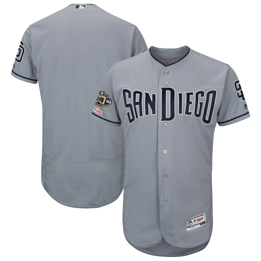 Padres Blank Gray 50th Anniversary and 150th Patch FlexBase Jersey