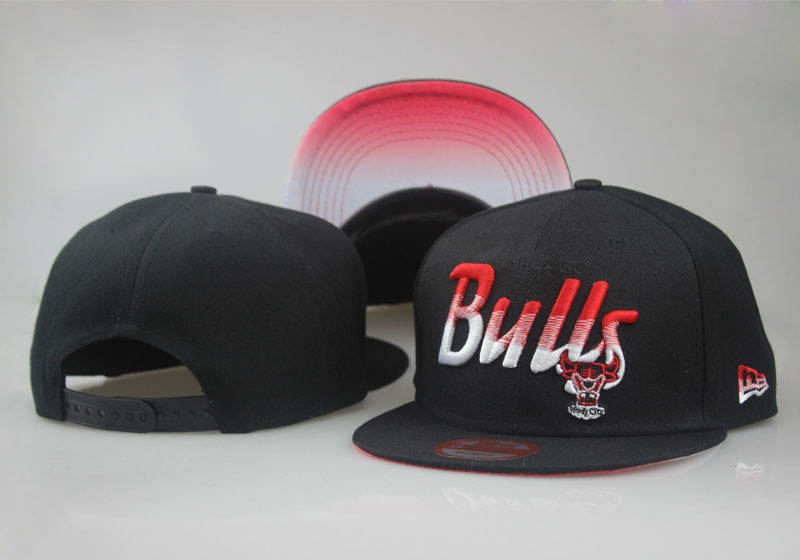 Bulls Team Logo Black Red Special Adjustable Hat LT