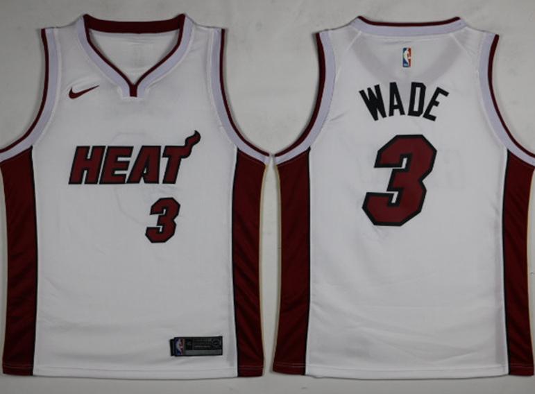Heat 3 Dwyane Wade White Nike Swingman Jersey