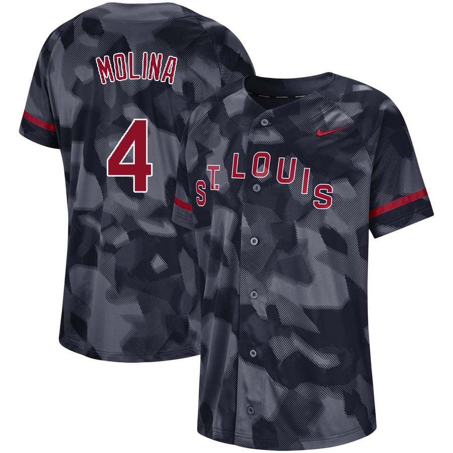 Cardinals 4 Yadier Molina Black Camo Fashion Jersey