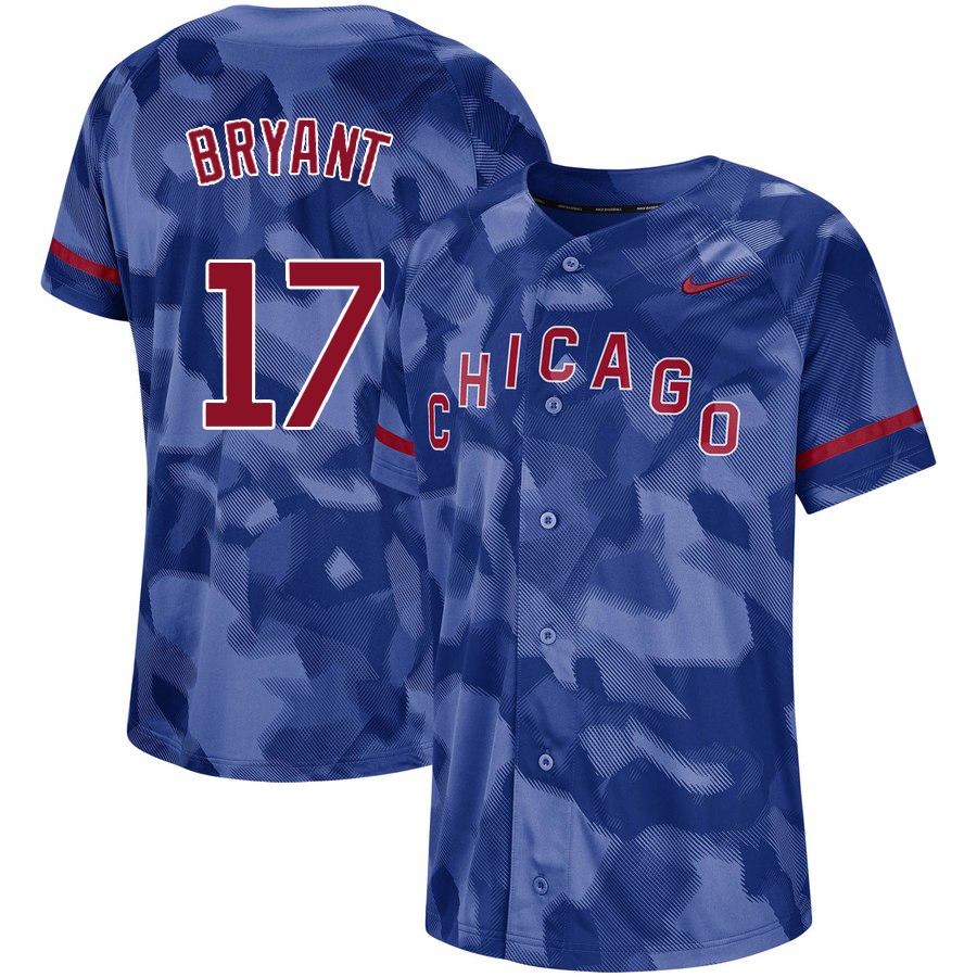 Cubs 17 Kris Bryant Royal Camo Fashion Jersey
