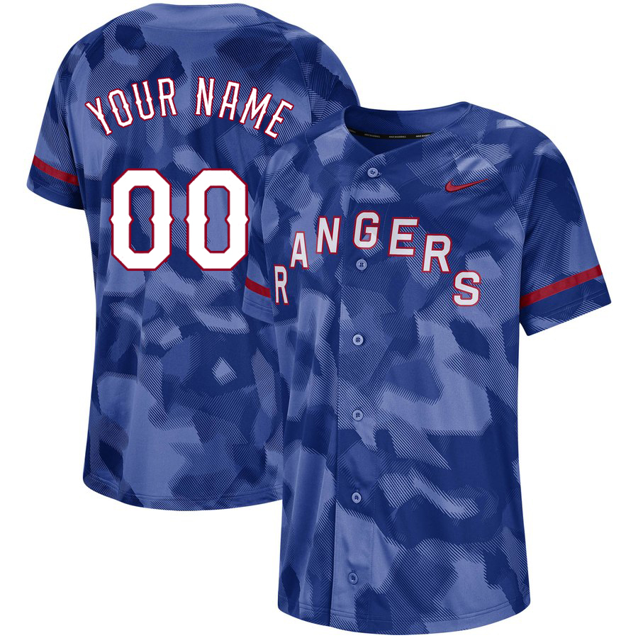 Rangers Royal Camo Fashion Men's Customized Jersey