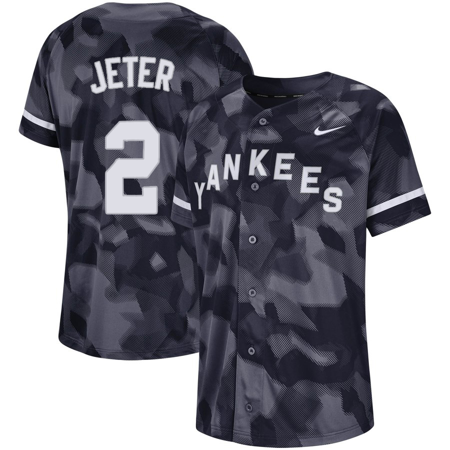 Yankees 2 Derek Jeter Black Camo Fashion Jersey