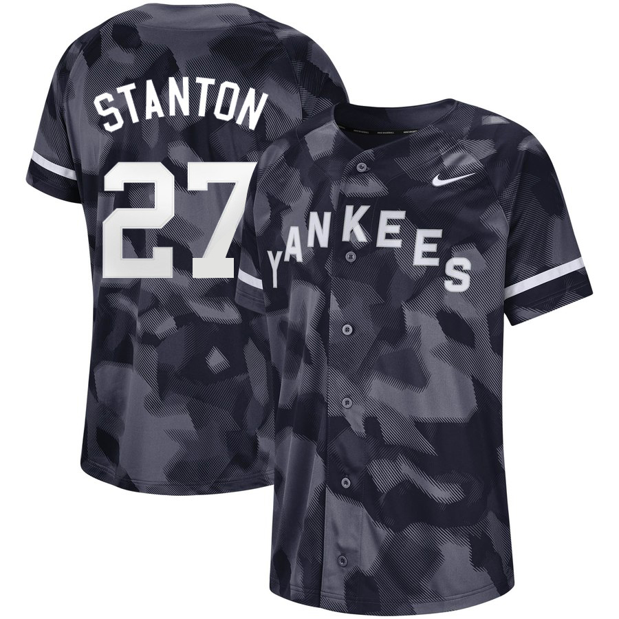 Yankees 27 Giancarlo Stanton Black Camo Fashion Jersey