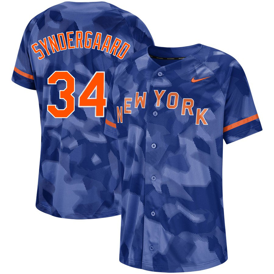 Mets 34 Noah Syndergaard Royal Camo Fashion Jersey