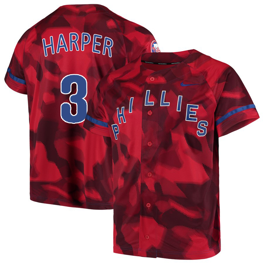 Phillies 3 Bryce Harper Red Camo Fashion Jersey