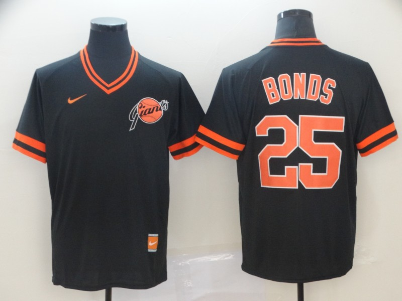 Giants 25 Barry Bonds Black Throwback Jersey