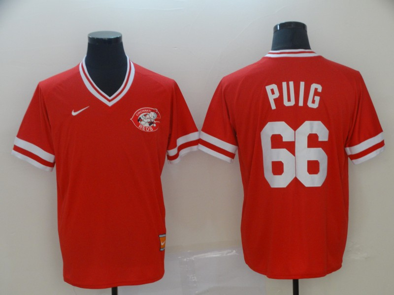 Reds 66 Yasiel Puig Red Throwback Jersey