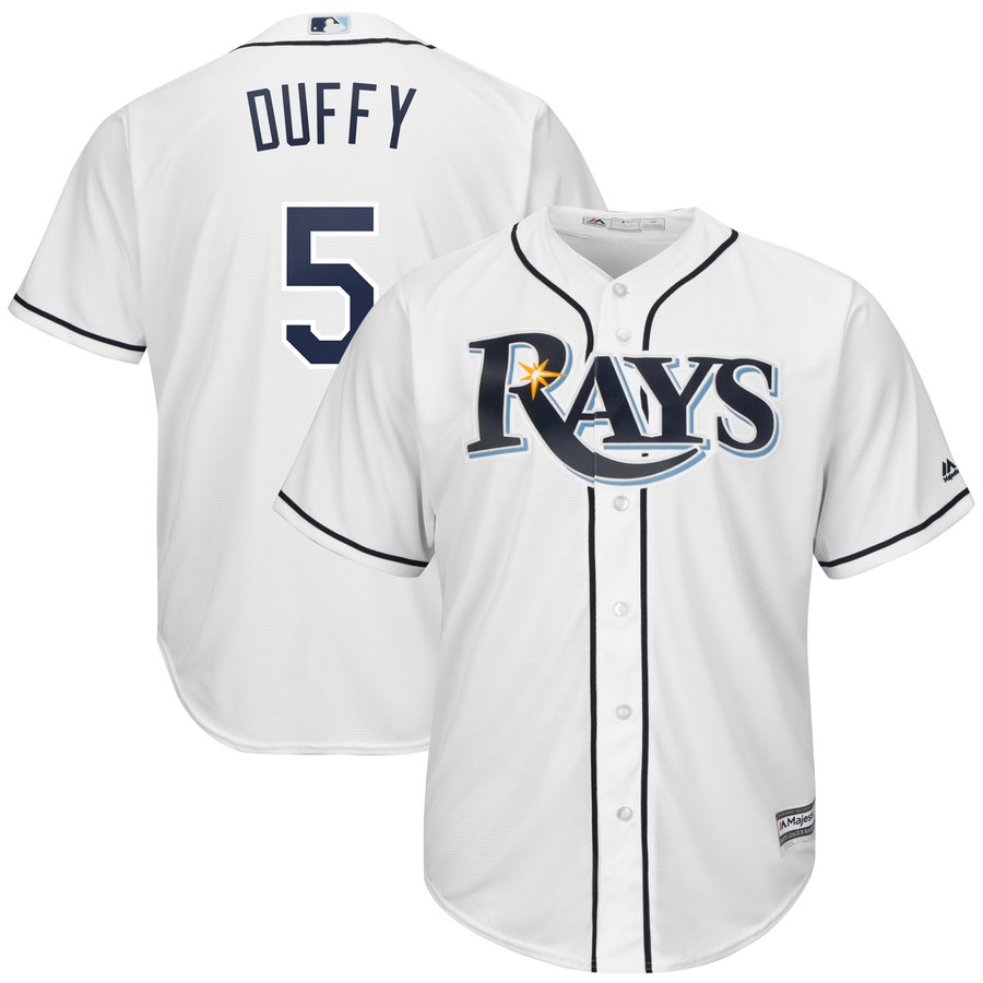 Rays 5 Matt Duffy White Cool Base Jersey