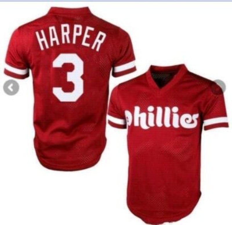 Phillies 3 Bryce Harper Red Mesh Throwback Jersey