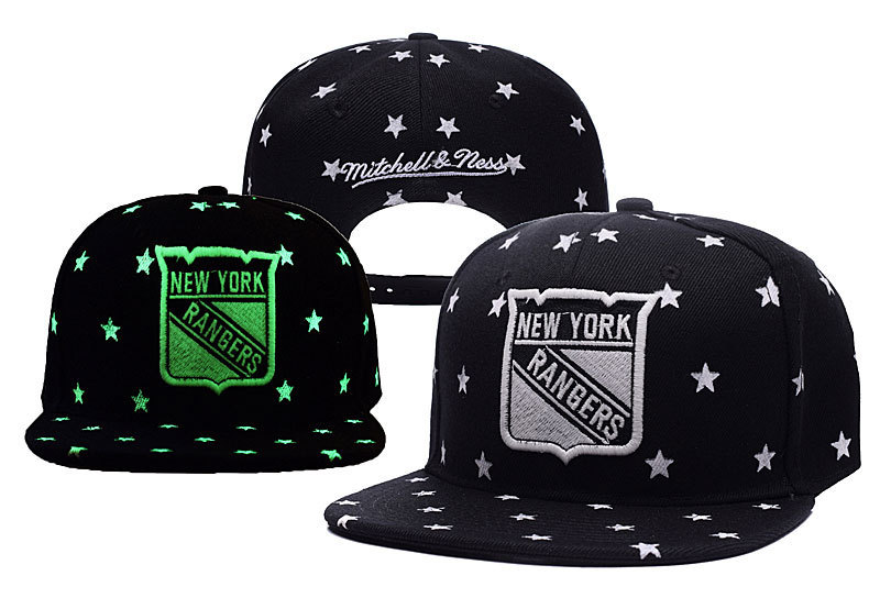 Rangers Team Logo Black With Stars Mitchell & Ness Adjustable Hat YD