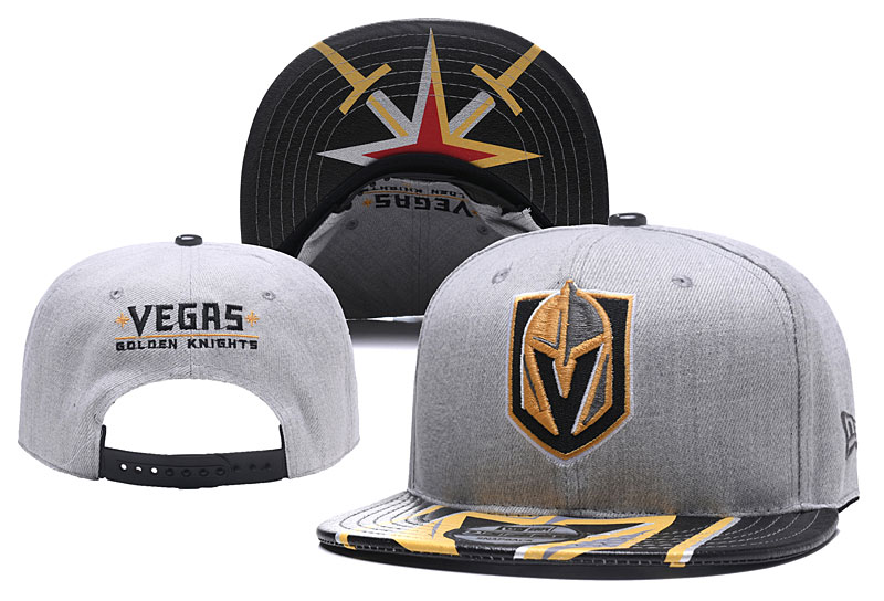 Vegas Golden Knights Fresh Logo Black Gray Adjustable Hat YD