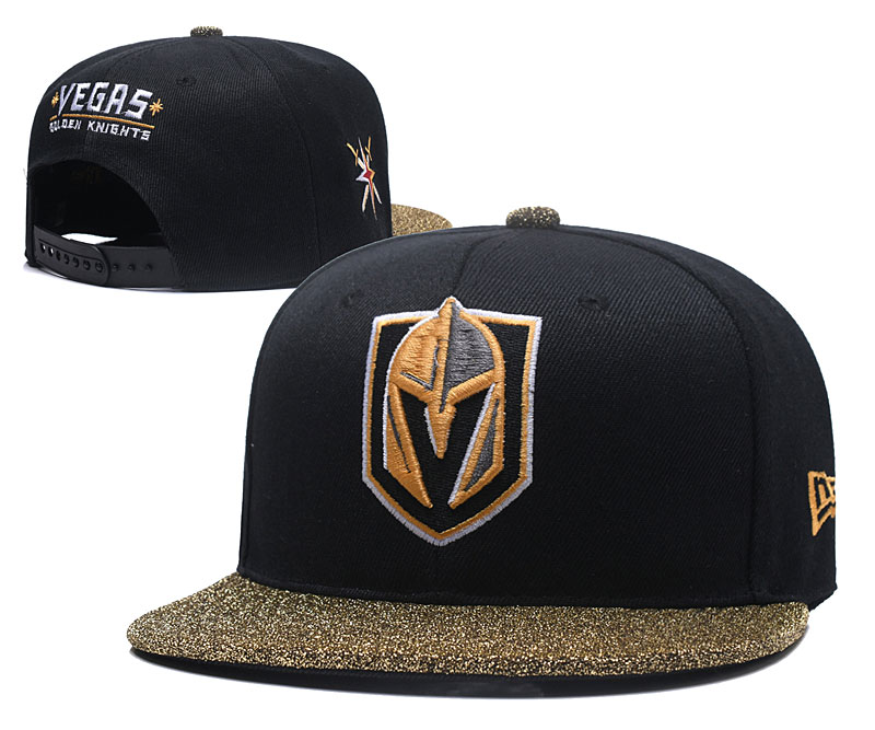Vegas Golden Knights Team Logo Black Gold Adjustable Hat YD