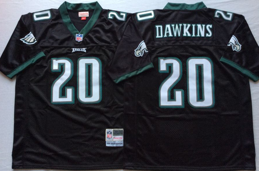 Eagles 20 Brian Dawkins Black M&N Throwback Jersey