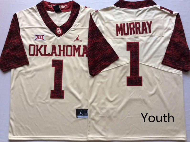Oklahoma Sooners 1 Kyler Murray White Youth 47 Game Winning Streak College Football Jersey
