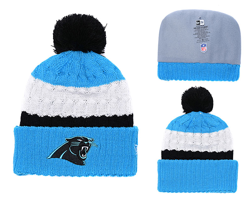 Panthers Classic Blue Pom Knit Hat YD