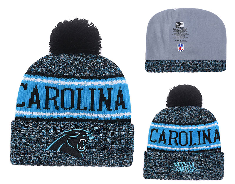 Panthers Fresh Logo Black Blue With Pom Knit Hat YD