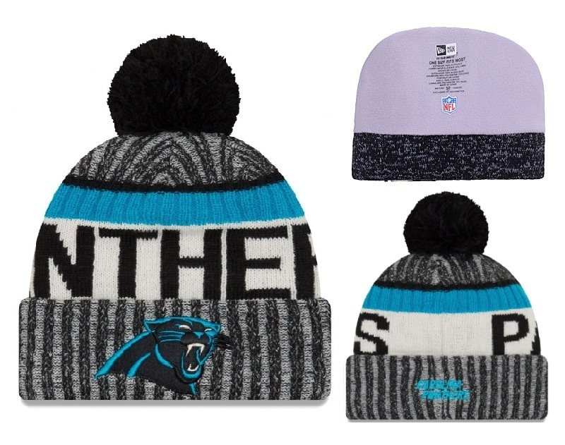 Panthers Fresh Logo Black Gray Blue Pom Knit Hat YD