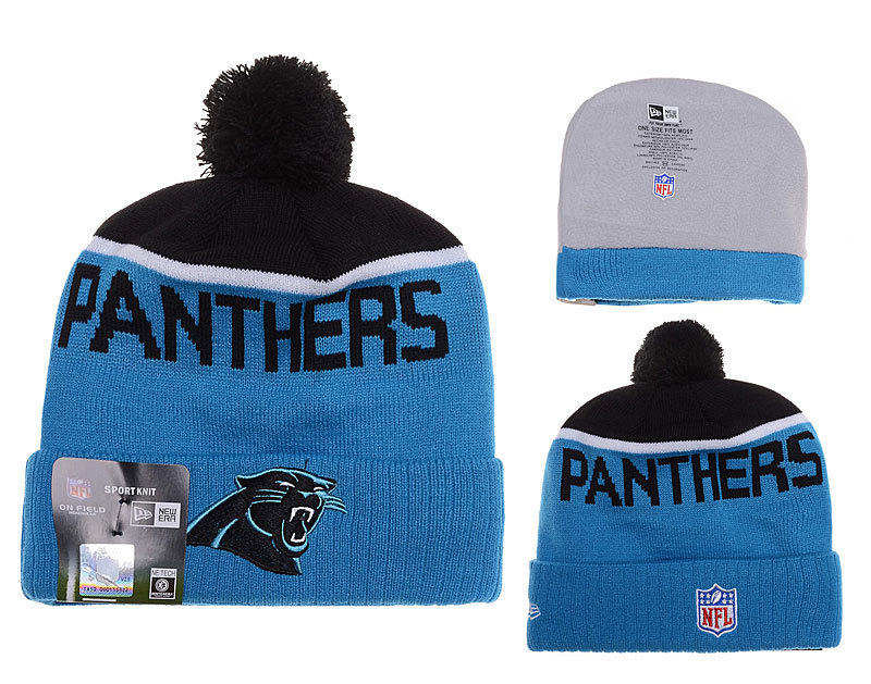 Panthers Fresh Logo Blue Black Pom Knit Hat YD