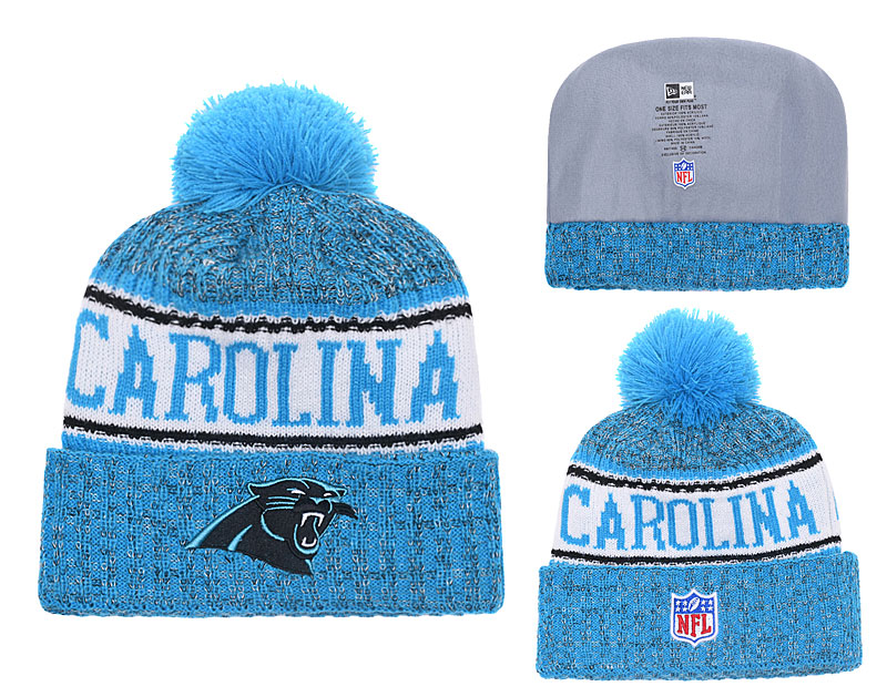 Panthers Fresh Logo Blue White Pom Knit Hat YD