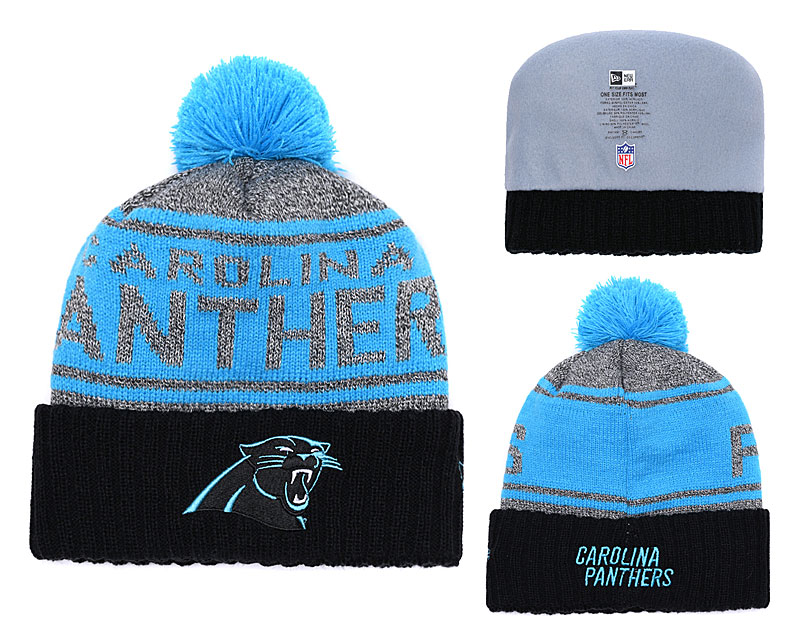 Panthers Fresh Logo Gray Black Blue Pom Knit Hat YD