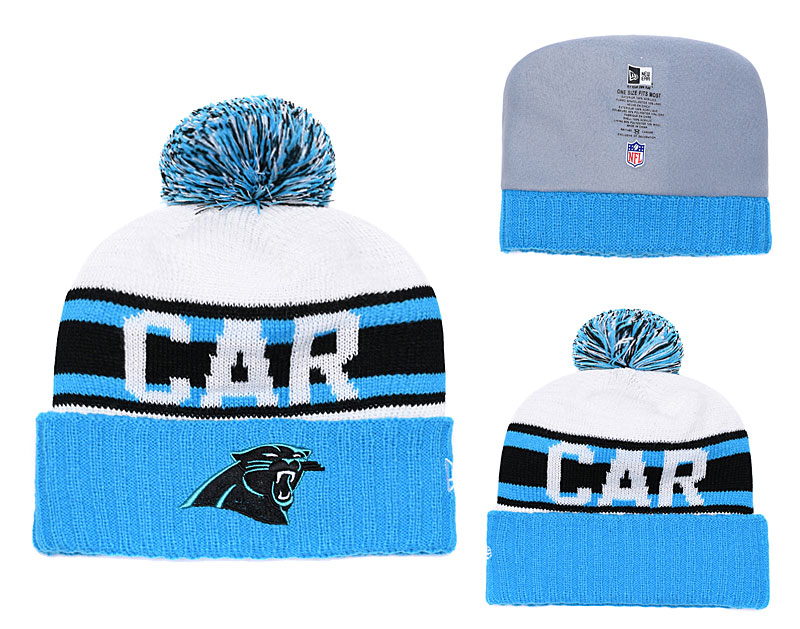 Panthers Retro Logo Blue Cuffed Pom Knit Hat YD