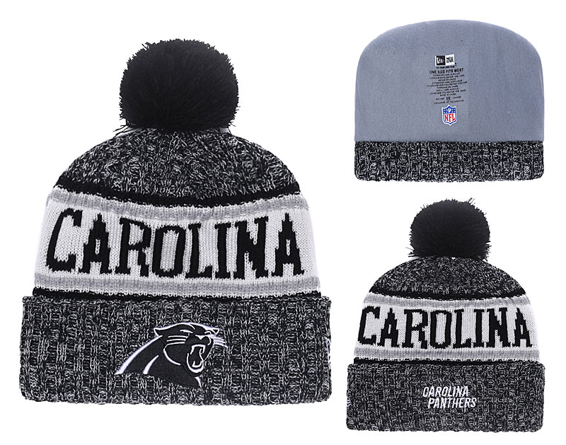 Panthers Team Logo Black Cuffed Pom Knit Hat YD