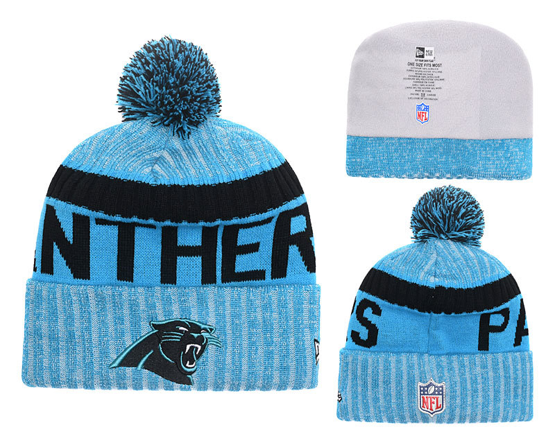 Panthers Team Logo Blue Black Stripe Cuffed Knit Hat YD