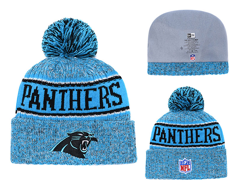 Panthers Team Logo Blue Black With Pom Knit Hat YD