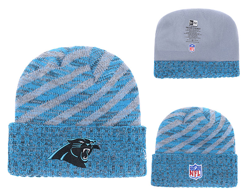 Panthers Team Logo Blue Stripe Cuffed Knit Hat YD