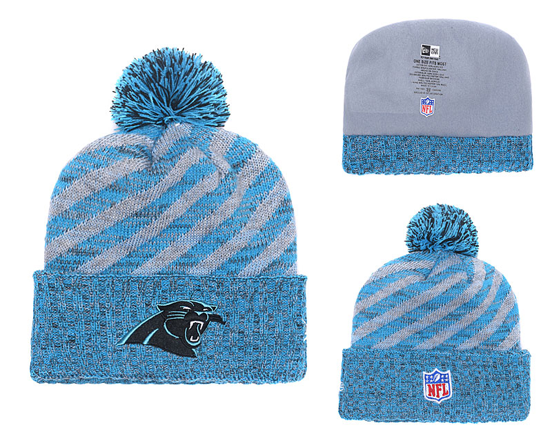 Panthers Team Logo Blue Stripe Cuffed Pom Knit Hat YD