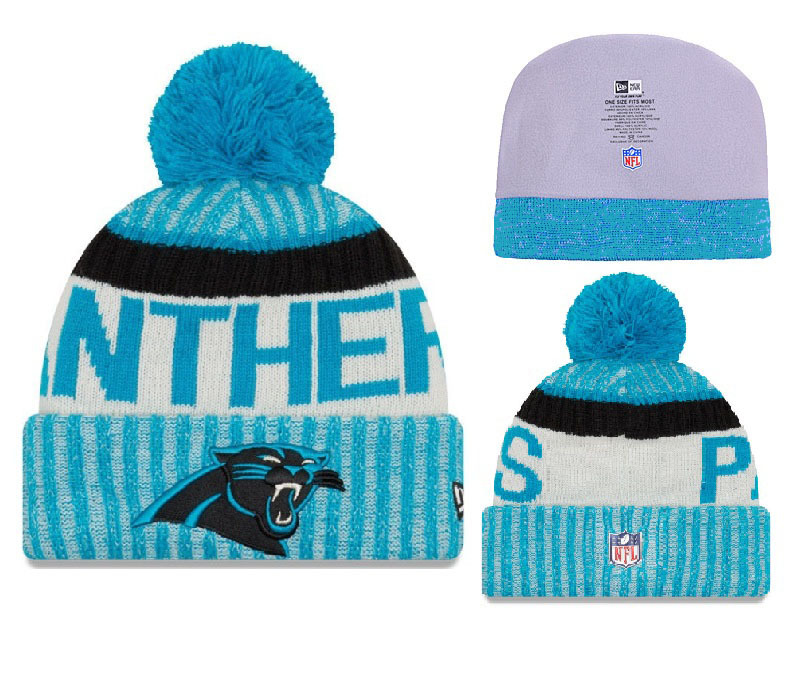 Panthers Team Logo Blue With Pom Knit Hat YD