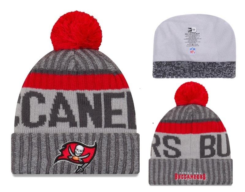 Buccaners Fresh Logo Gray Red Pom Knit Hat YD