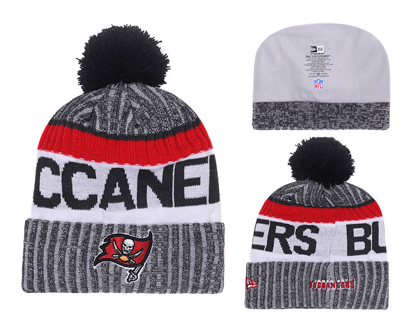 Buccaners Fresh Logo Gray Red With Pom Knit Hat YD
