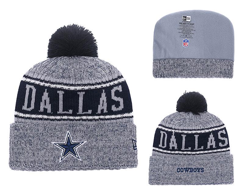 Cowboys Fresh Logo Gray Knit Hat With Pom YD