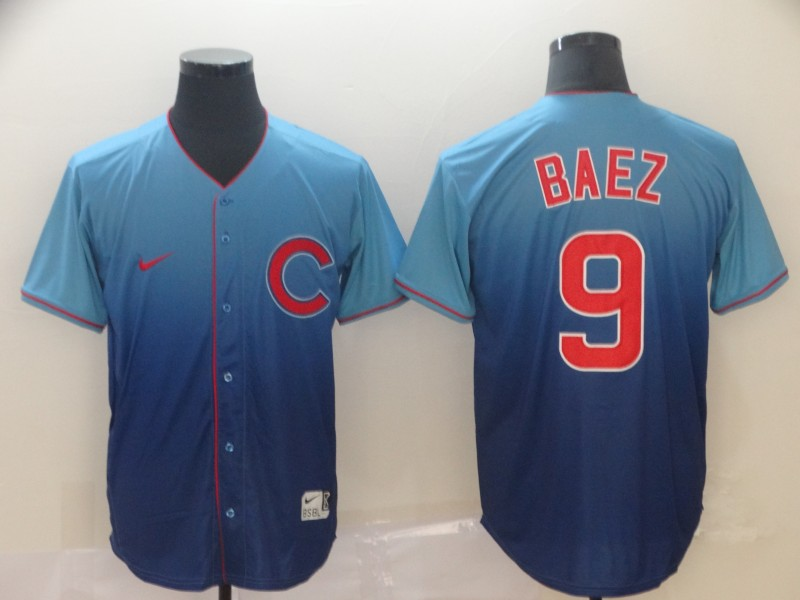 Cubs 9 Javier Baez Blue Drift Fashion Jersey