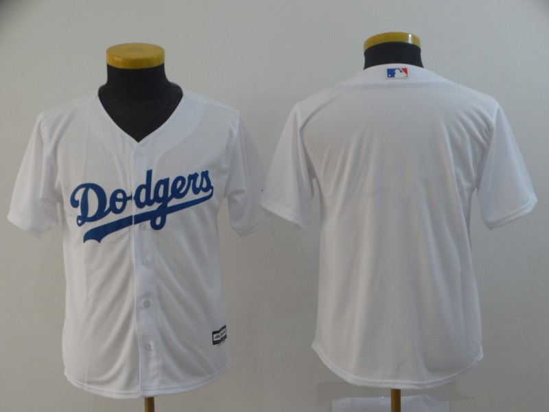 Dodgers Blank White Youth Cool Base Jersey