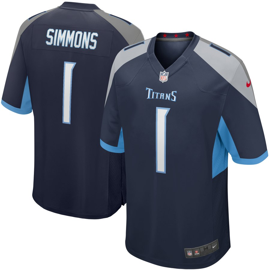 Nike Titans 1 Jeffery Simmons Navy 2019 NFL Draft First Round Pick Vapor Untouchable Limited Jersey